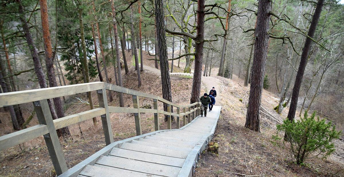 Naujai įrengtais laiptais galima patogiai nusileisti nuo Naujosios Rėvos piliakalnio iki Neries